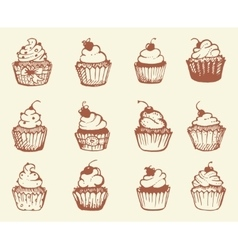 Hand drawn cupcakes vector image vector image