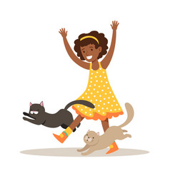 happy little girl playing with two kittens vector image vector image