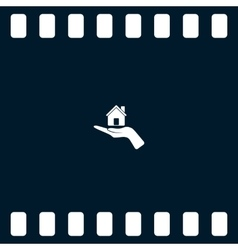 Home on the hand icon vector