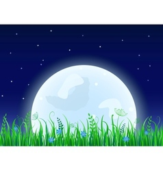 Huge moon with grass meadow vector image