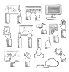 Human hands with digital devices vector image vector image