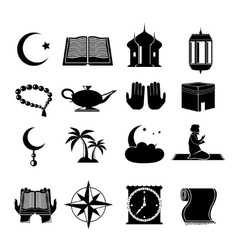 Islam icons set black vector