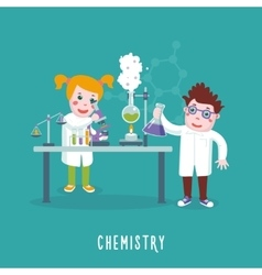 Kids education chemistry class children in a lab vector