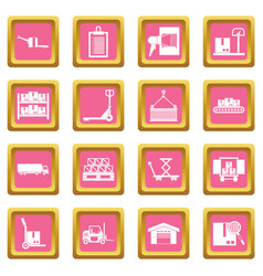 logistic icons pink vector image