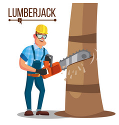 Lumberjack classic logger man working with vector