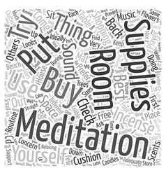 Meditation supplies word cloud concept vector