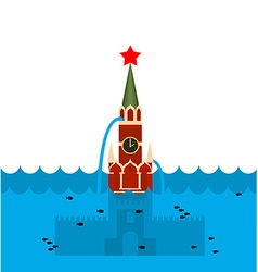 Moscow kremlin flood russian sight in water vector