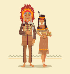 native american indian couple vector image vector image