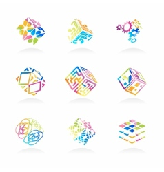 network cube icons set vector image