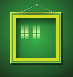 Retro picture frame on green wall vector image
