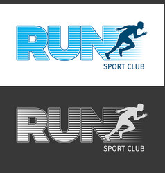 Run sport club two pictures with running man vector