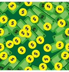 Seamless pattern with money - banknotes and coins vector