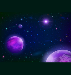 Space background with planets and star vector