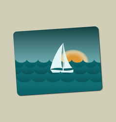Sunset sailboat and sea with waves vector