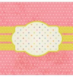 Vintage pastel frame on polka dot background vector