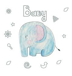 Watercolor kids print funny gentle elephant vector