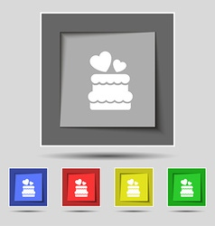 Wedding cake icon sign on original five colored vector