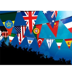 World bunting flags with crowd over blue vector