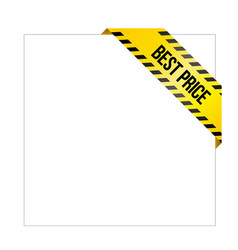 yellow caution tape with words best price vector image vector image