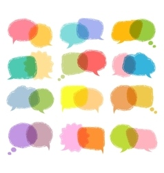 Talking bubble colorful set vector