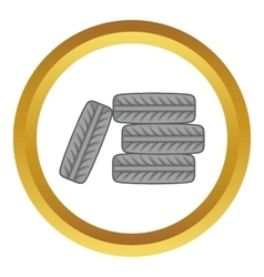 Pile of black tires icon vector