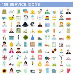 100 service icons set flat style vector