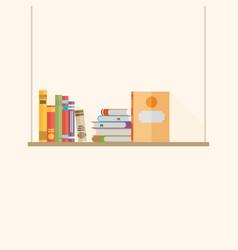 Flat bookshelf with long shadow icon modern vector