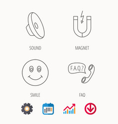 Magnet smiling face and faq speech bubble icons vector