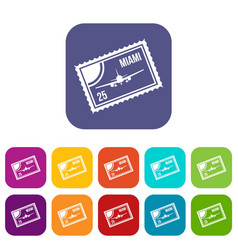 Stamp with plane and text miami inside icons set vector