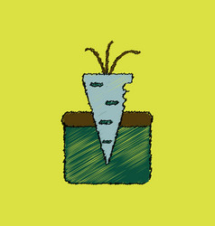 Flat shading style icon turnip in soil vector