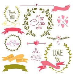 Wedding graphic set wreath flowers arrows vector