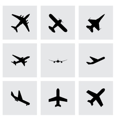 Black airplane icon set vector