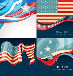 Set of creative american flag background vector