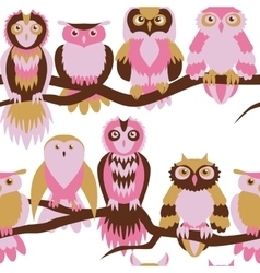 Cute owl seamless pattern vector