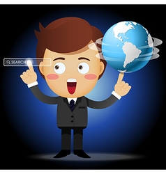 Businessman spinning globe and pointing search bar vector