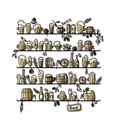 Shelves with beer sketch for your design vector