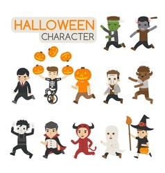 Set of halloween costume characters  trick or tre vector