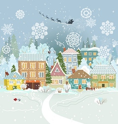 Cute winter cityscape merry christmas vector