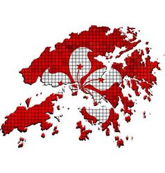 Hong kong map with flag inside vector