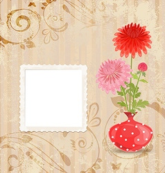 Vintage invitation card with vase of chrysanthemum vector