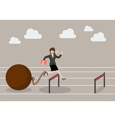 Business woman jumping over hurdle with the weight vector