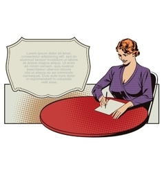 Girl writes sitting at the table vector