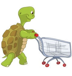 Funny turtle shopping vector