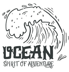 Ocean spirit of adventure hand drawn nautical vector