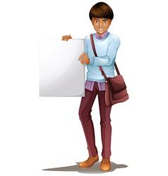 A boy holding an empty board vector