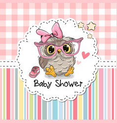 Baby shower greeting card with owl vector