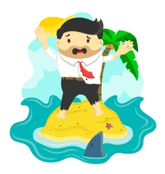 businessman stranded in island vector image