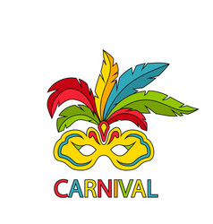 Carnival mask with colorful feathers isolated vector