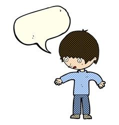 Cartoon confused boy with speech bubble vector