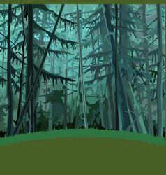 Cartoon fabulous dense coniferous forest vector